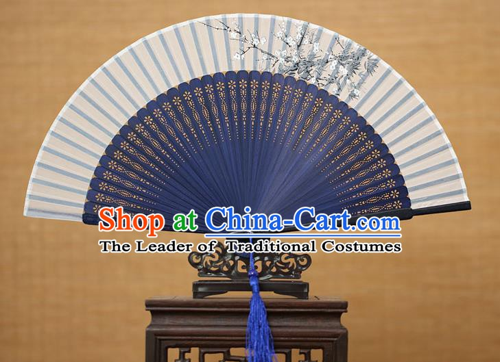 Traditional Chinese Crafts Printing Wintersweet Classical Folding Fan, China Handmade Blue Bamboo Silk Fans for Women