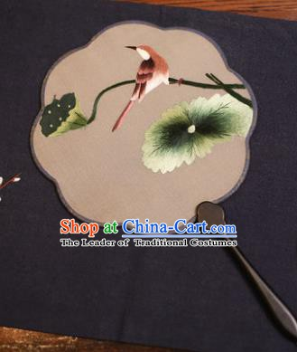 Traditional Chinese Crafts Suzhou Embroidery Palace Fan, China Princess Embroidered Lotus Leaf Silk Fans for Women