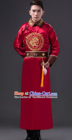 Traditional Chinese Qing Dynasty Royal Prince Costume, China Ancient Manchu Nobility Embroidered Clothing for Men