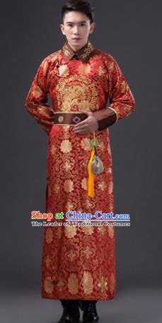 Traditional Chinese Qing Dynasty Nobility Childe Costume, China Ancient Manchu Royal Highness Embroidered Clothing for Men