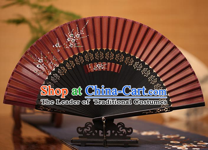 Traditional Chinese Crafts Printing Plum Blossom Folding Fan, China Handmade Classical Purplish Red Silk Fans for Women