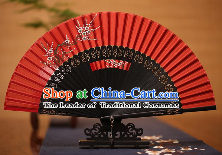 Traditional Chinese Crafts Printing Plum Blossom Folding Fan, China Handmade Classical Red Silk Fans for Women