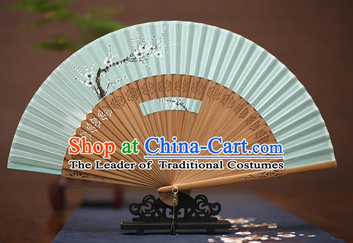 Traditional Chinese Crafts Printing Wintersweet Folding Fan, China Handmade Classical Green Silk Fans for Women