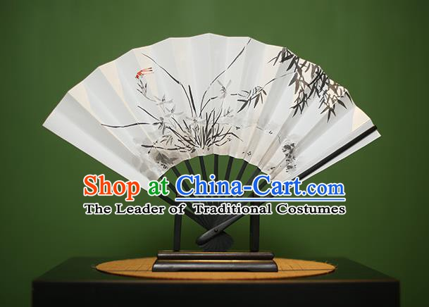 Traditional Chinese Crafts Printing Orchid Bamboo Paper Folding Fan, China Handmade Classical Fans for Women