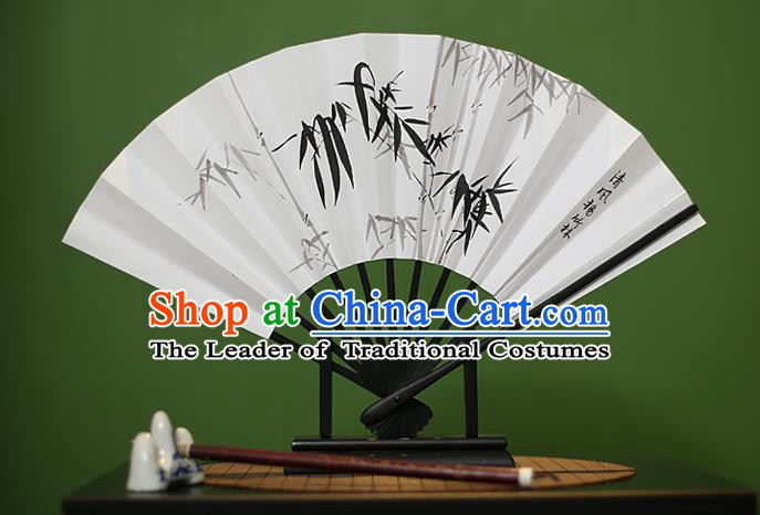 Traditional Chinese Crafts Ink Painting Bamboo Paper Folding Fan, China Handmade Classical Fans for Women