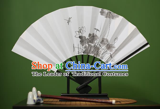 Traditional Chinese Crafts Ink Painting Lotus Paper Folding Fan, China Handmade Classical Fans for Women