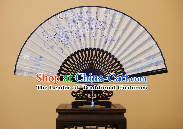 Traditional Chinese Crafts Printing Plum Blossom Folding Fan, China Handmade Classical White Fans for Women
