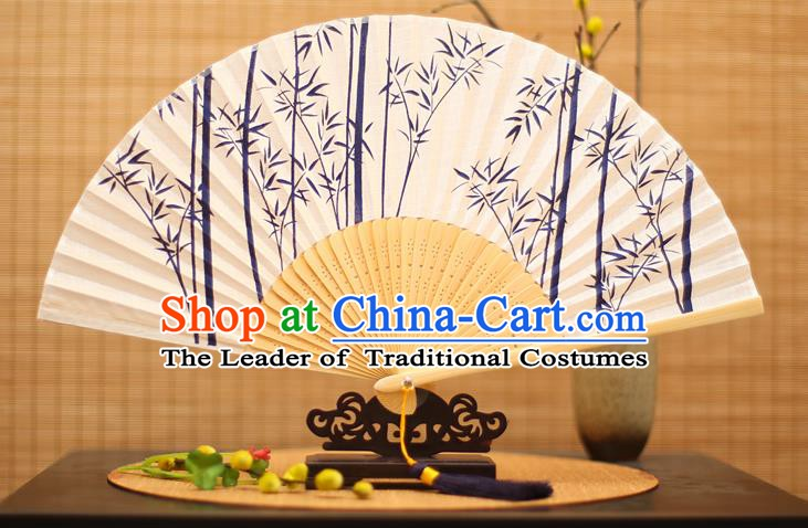 Traditional Chinese Crafts Printing Blue Bamboo Folding Fan, China Handmade Classical Fans for Women