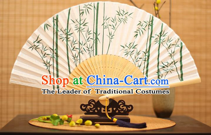 Traditional Chinese Crafts Printing Green Bamboo Folding Fan, China Handmade Classical Fans for Women