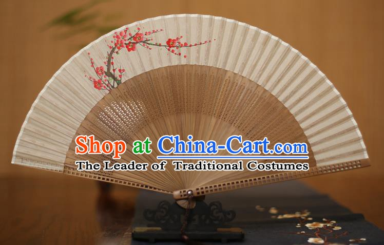 Traditional Chinese Crafts Printing Plum Blossom Folding Fan, China Handmade Classical Silk Pierced Fans for Women
