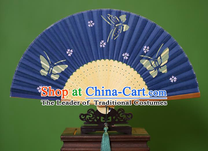 Traditional Chinese Crafts Printing Butterfly Folding Fan, China Handmade Classical Blue Silk Fans for Women