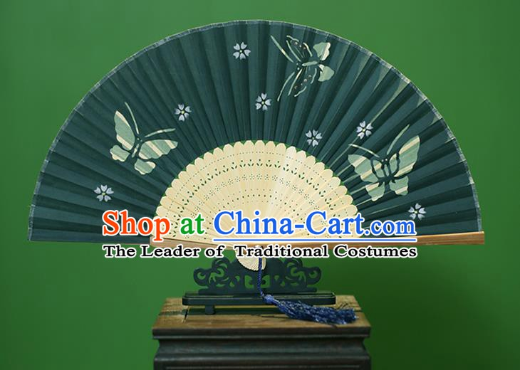 Traditional Chinese Crafts Printing Butterfly Folding Fan, China Handmade Classical Green Silk Fans for Women
