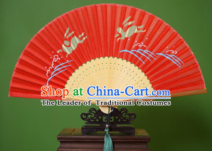Traditional Chinese Crafts Printing Rabbit Folding Fan, China Handmade Classical Red Silk Fans for Women