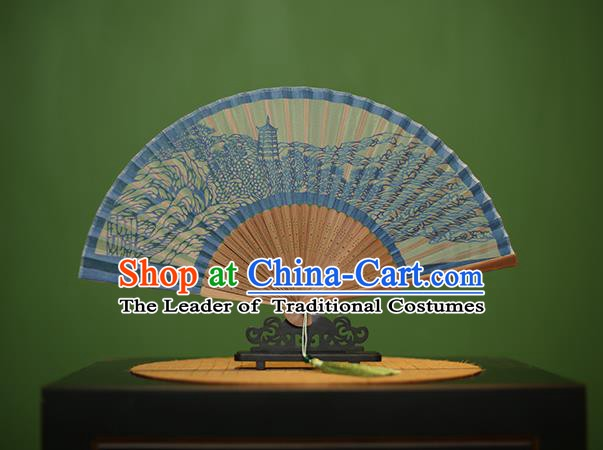 Traditional Chinese Crafts Hand Painting West Lake Scenery Folding Fan, China Handmade Classical Blue Silk Fans for Women
