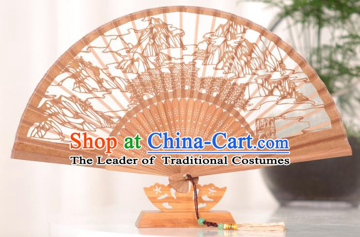Traditional Chinese Crafts West Lake Scenery Folding Fan, China Handmade Classical Brown Silk Fans for Women