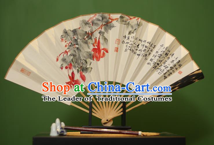 Traditional Chinese Crafts Ink Painting Paper Folding Fan, China Handmade Mottled Bamboo Fans for Men