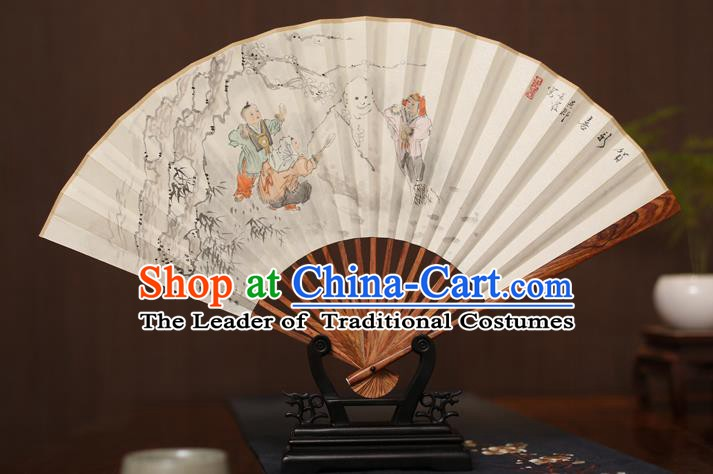 Traditional Chinese Crafts Ink Painting Snowmen Paper Folding Fan, China Handmade Pear Wood Fans for Men