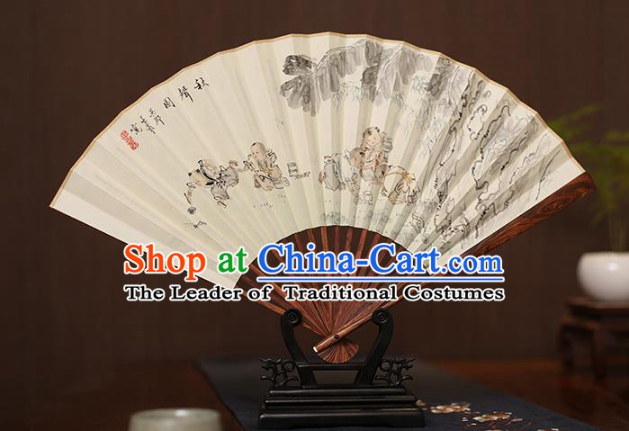 Traditional Chinese Crafts Ink Painting Children Paper Folding Fan, China Handmade Pear Wood Fans for Men