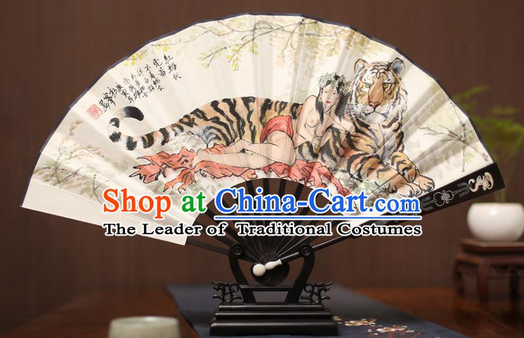 Traditional Chinese Crafts Ink Painting Tiger Paper Folding Fan, China Handmade Ebony Fans for Men