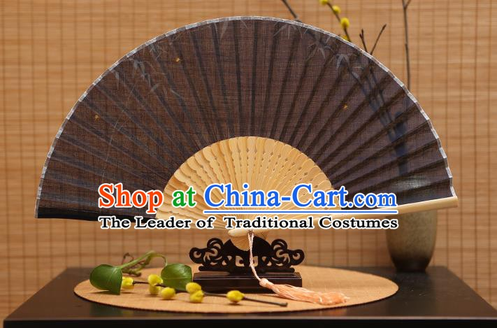 Traditional Chinese Crafts Classical Linen Folding Fan, China Handmade Printing Bamboo Fans for Women
