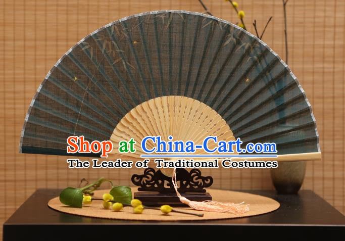 Traditional Chinese Crafts Classical Green Linen Folding Fan, China Handmade Printing Bamboo Fans for Women