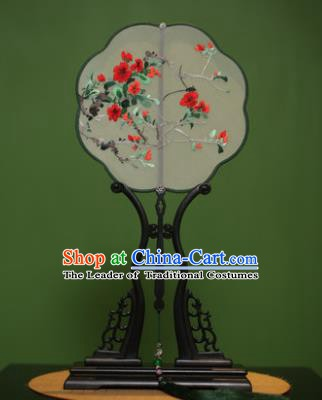 Traditional Chinese Crafts Suzhou Embroidery Flowers Palace Fan, China Princess Embroidered Silk Fans for Women