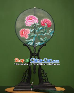 Traditional Chinese Crafts Suzhou Embroidery Peony Palace Fan, China Princess Embroidered Silk Round Fans for Women