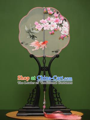 Traditional Chinese Crafts Suzhou Embroidery Magnolia Goldfish Palace Fan, China Princess Embroidered Silk Fans for Women