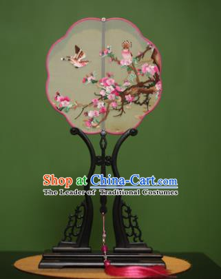 Traditional Chinese Crafts Suzhou Embroidery Peach Blossom Palace Fan, China Princess Embroidered Silk Fans for Women