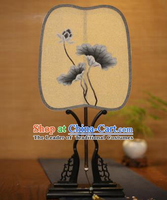 Traditional Chinese Crafts Tapestry Silk Palace Fan, China Printing Lotus Leaf Princess Silk Fans for Women