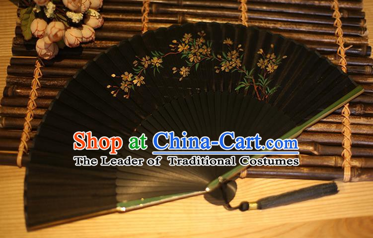 Traditional Chinese Crafts Printing Peach Blossom Classical Folding Fan, China Handmade Black Silk Fans for Women