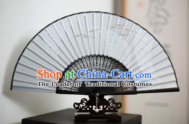 Traditional Chinese Crafts Printing Fishes Classical Folding Fan, China Handmade Grey Silk Fans for Women