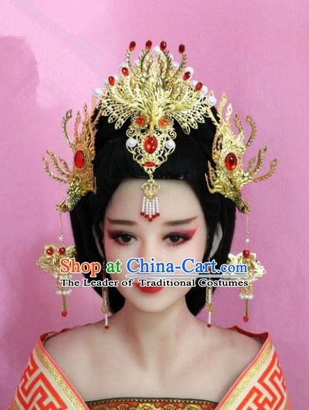 Chinese Ancient Hair Jewelry Accessories Phoenix Coronet, China Imperial Empress Hairpins Headwear for Women