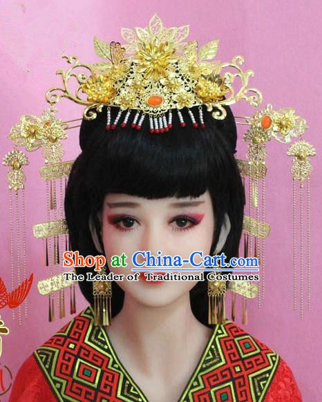 Chinese Ancient Hair Jewelry Accessories Xiuhe Suit Phoenix Coronet, China Empress Hairpins Headwear for Women