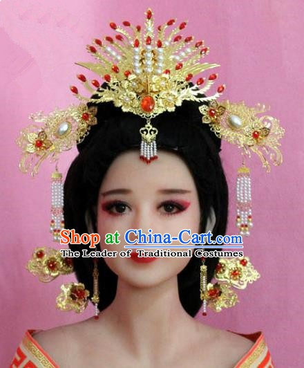 Chinese Ancient Hair Jewelry Accessories Xiuhe Suit Tassel Phoenix Coronet, China Empress Hairpins Headwear for Women