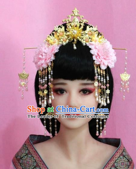 Traditional Chinese Ancient Hair Accessories Xiuhe Suit Phoenix Coronet, China Bride Flowers Hairpins Headwear for Women