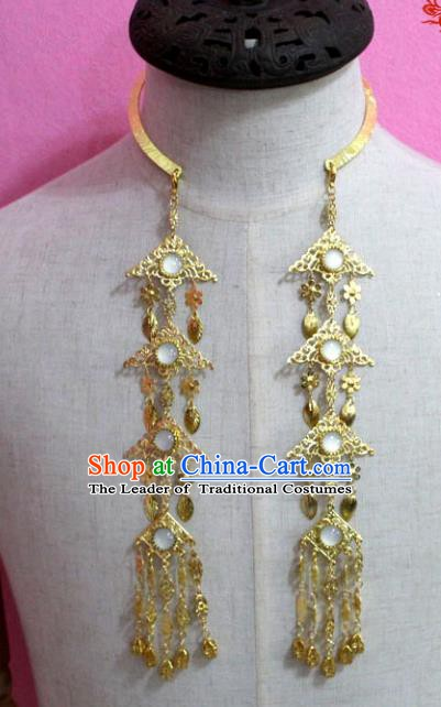 Traditional Chinese Handmade Jewelry Accessories Ancient Bride Golden Necklace Hanfu Opal Necklet for Women