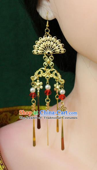 Traditional Chinese Handmade Jewelry Accessories Xiuhe Suit Bride Peacock Earrings Hanfu Eardrop for Women