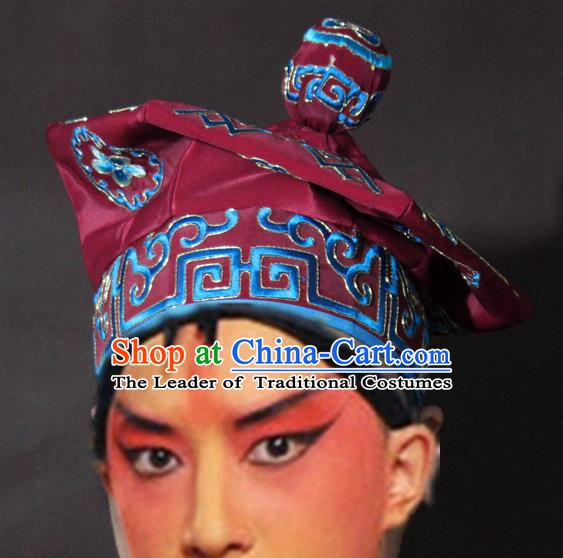 Traditional China Beijing Opera Takefu Purplish Red Hats, Chinese Peking Opera Imperial Bodyguard Embroidered Headwear