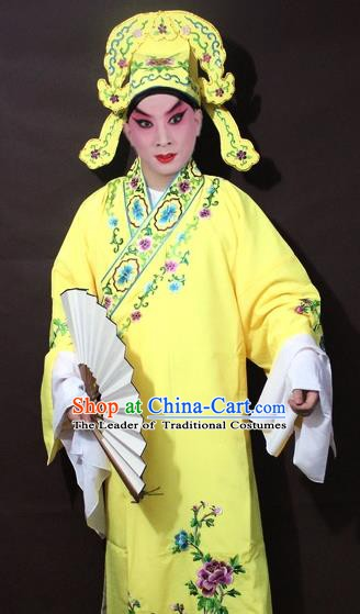 Traditional China Beijing Opera Niche Costume Yellow Embroidered Robe, Chinese Peking Opera Gifted Scholar Clothing