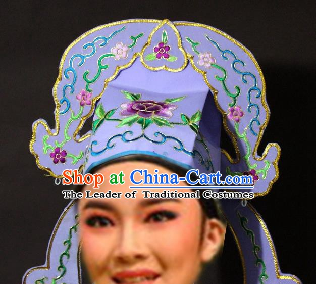 Traditional China Beijing Opera Niche Embroidered Purple Hats, Chinese Peking Opera Gifted Scholar Headwear