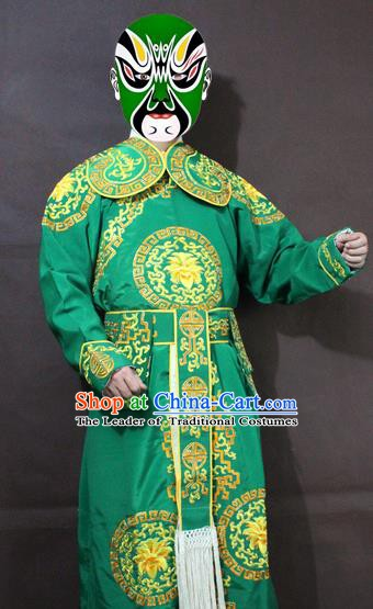 Traditional China Beijing Opera Takefu Embroidery Green Costume, Chinese Peking Opera Soldiers Embroidered Clothing