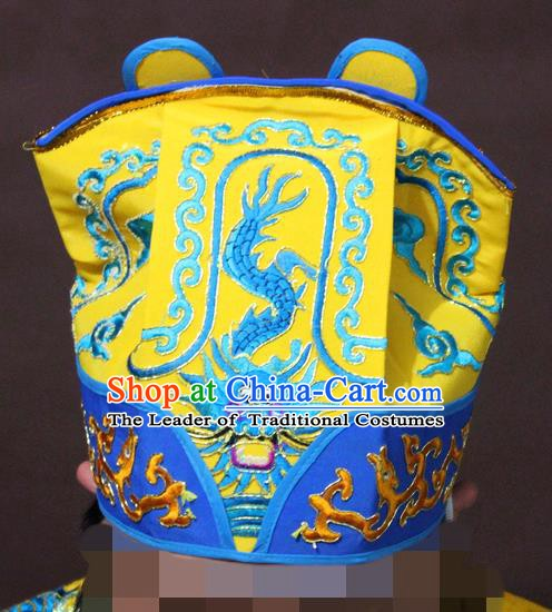Traditional China Beijing Opera Takefu Yellow Embroidered Hats, Chinese Peking Opera Warrior Headwear