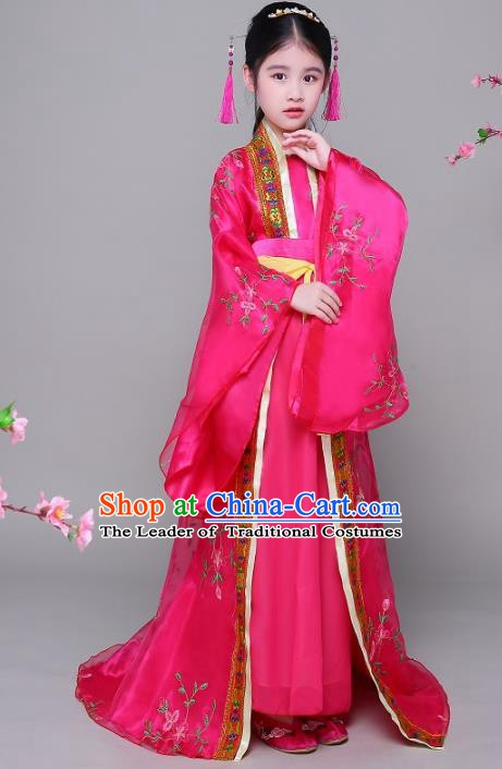 Traditional Chinese Ancient Children Imperial Consort Hanfu Dress Clothing, China Tang Dynasty Palace Lady Costume for Kids