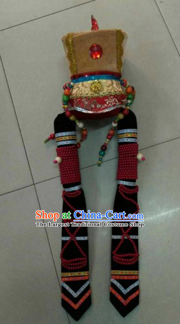 Chinese Traditional Mongol Nationality Hair Accessories Mongolian Princess Hat Headwear for Women