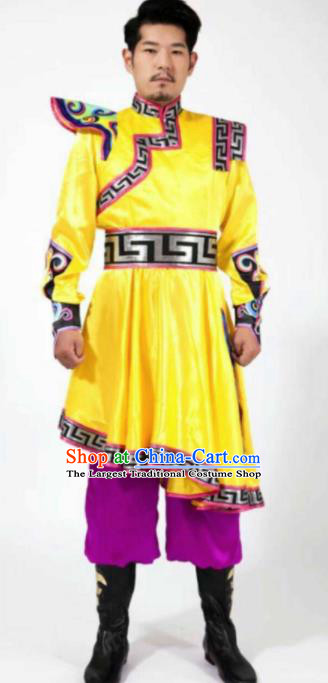 Chinese Traditional Mongol Nationality Dance Costume Mongolian Folk Dance Ethnic Clothing for Men