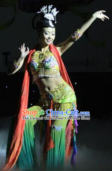 Chinese Traditional Folk Dance Costume Classical Dance Flying Dance Green Clothing for Women