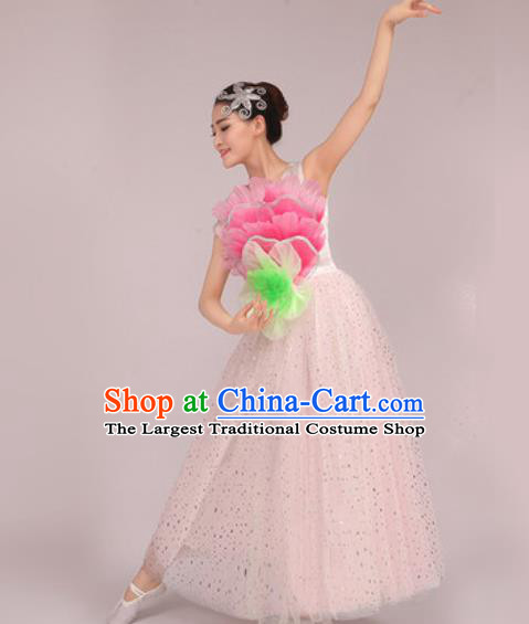 Chinese Classical Dance Costume Traditional Folk Dance Peony Dance White Dress for Women
