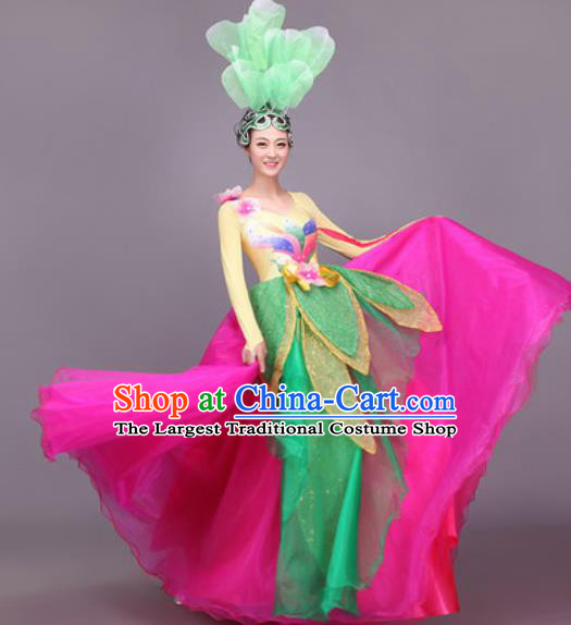 Chinese Traditional Classical Dance Costume Folk Dance Lotus Dance Rosy Dress for Women