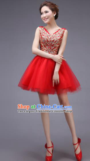 Professional Modern Dance Red Bubble Dress Opening Dance Stage Performance Bridesmaid Costume for Women